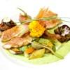 Rouget désarrété rôti à l'huile d'olive, artichauts vapeurs, beignet de fleur de courgette, mousseline de courgette, bayaldi d'aubergines, coulis de poivron