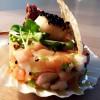 Tartare aux deux saumons, Saint-Jacques au sésame, moutarde et vinaigrette passion