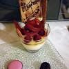 Crème vanille gelée miel et framboise