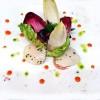 Eclats de Saint-Jacques, huile de truffes, mousse de saumon