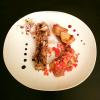 Magret de canard au foie gras en croûte de praline rose